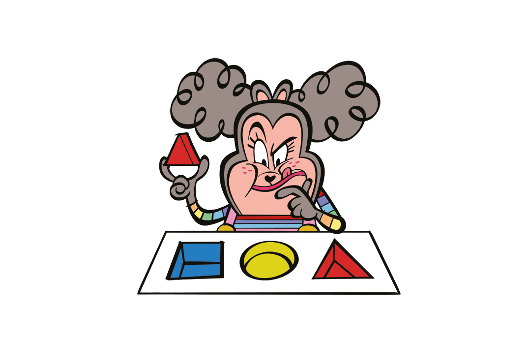 illustrated character completing a shapes puzzle