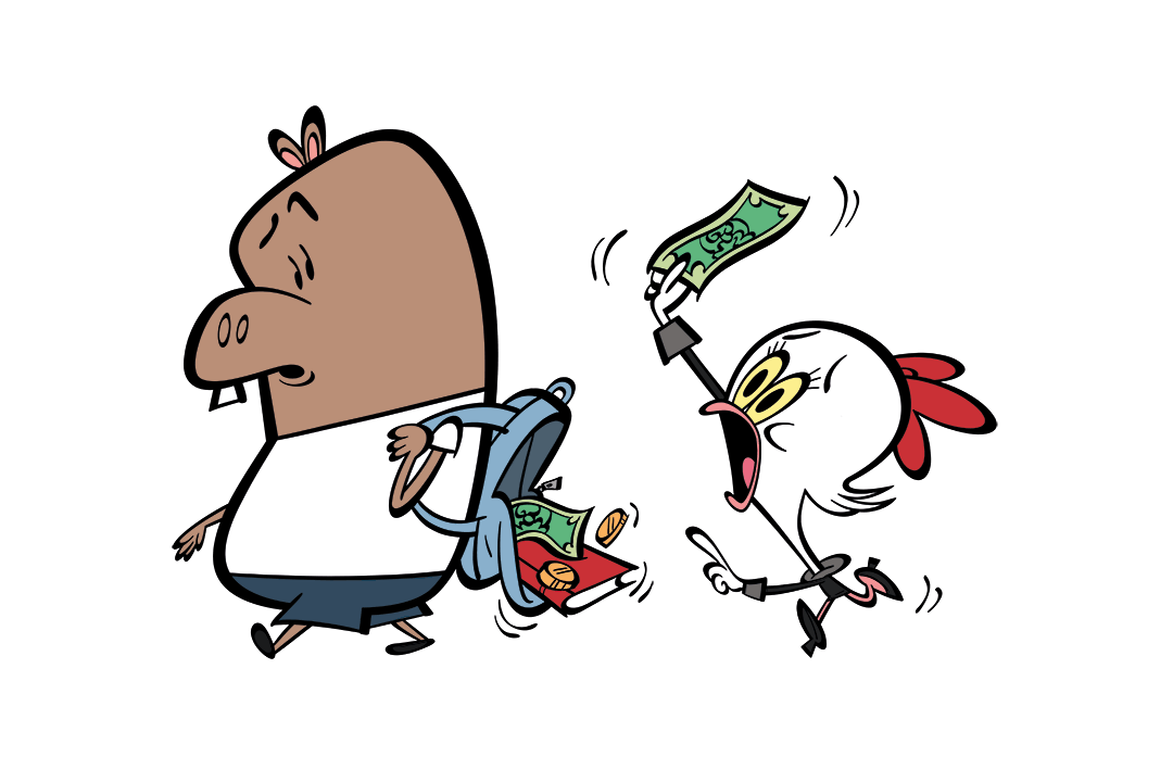 illustrated character running after another with dropped money