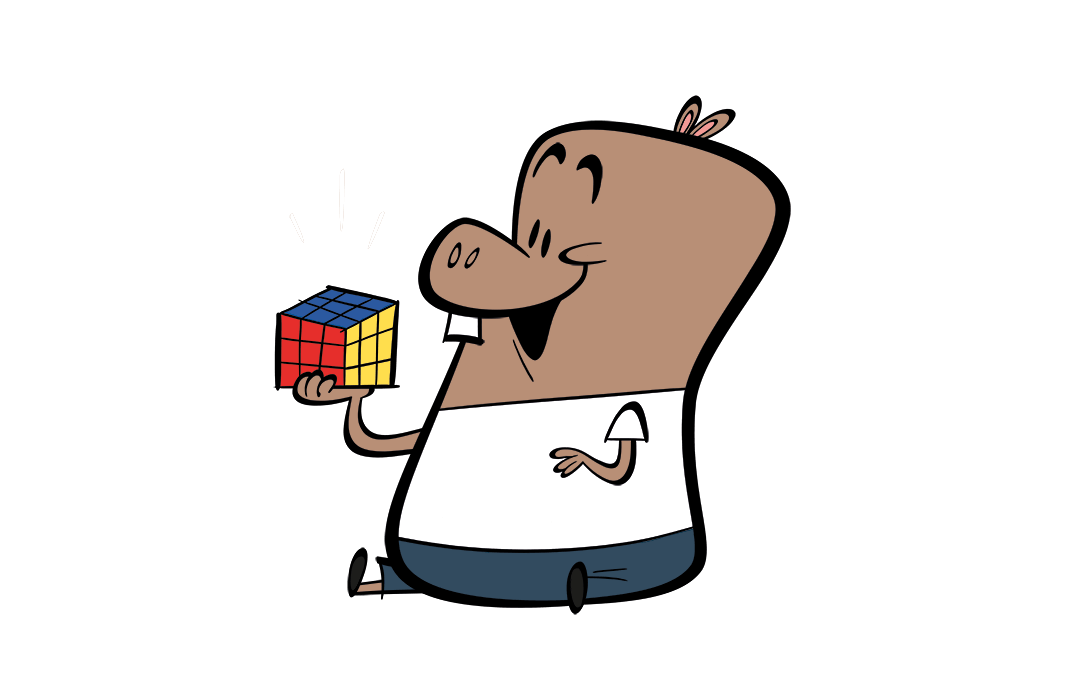 illustrated character with cube puzzle