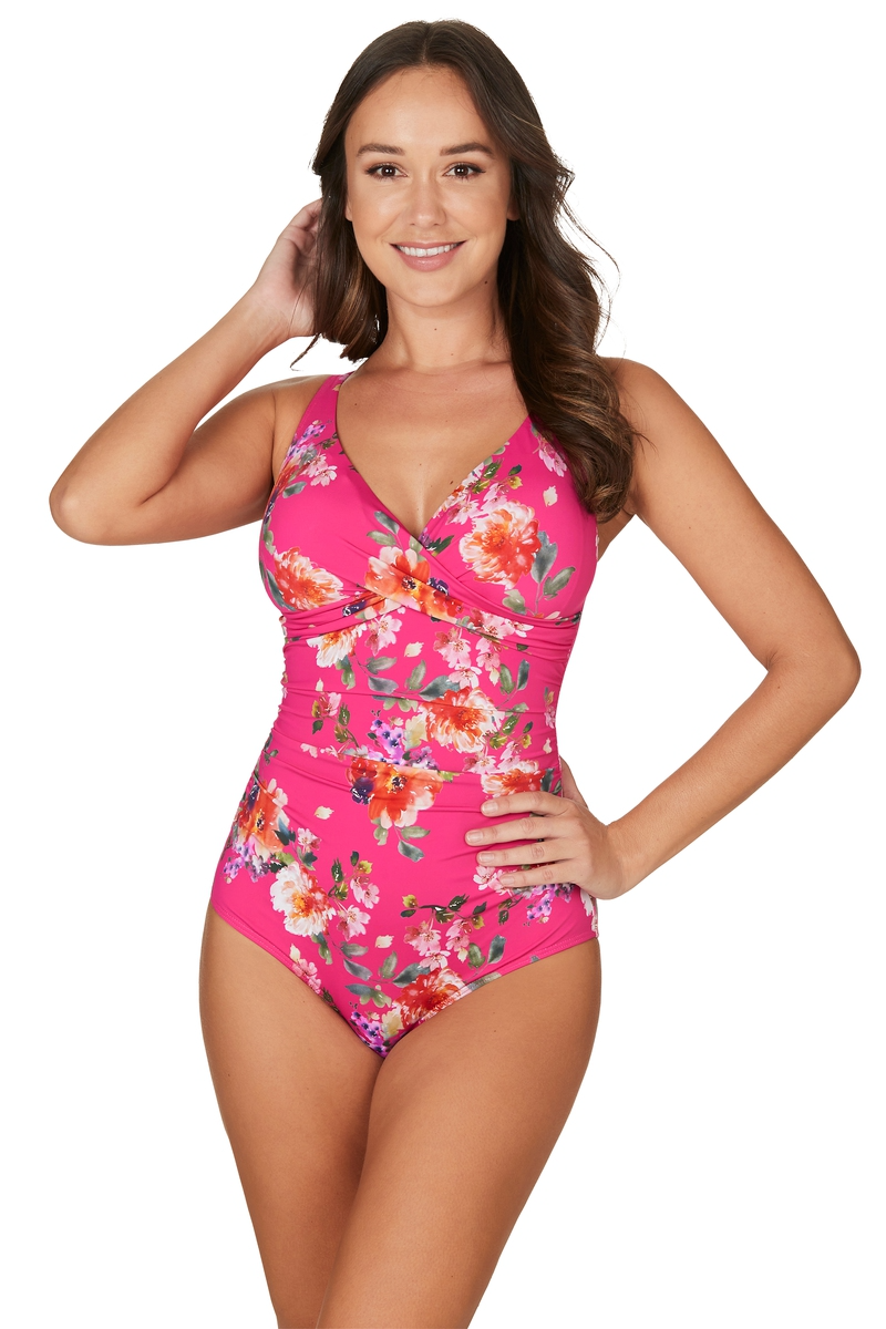 PARADISE SPLICE PINK CROSS FRONT TUMMY CONTROL ONE PIECE SWIMSUIT