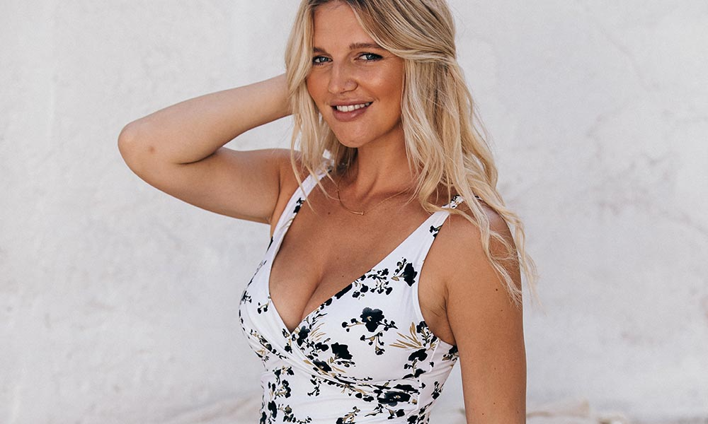 FLORAL OPULENCE WHITE CROSS FRONT TUMMY CONTROL ONE PIECE SWIMSUIT