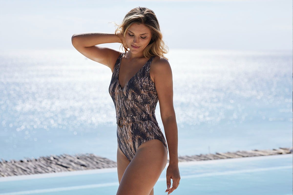 Rattle Me Belted Jean Ring Front Featured Design Tummy Control One Piece Swimsuit