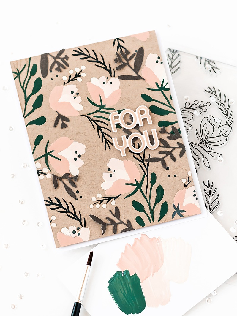 Pigment Delicate Floral Background Stamp and Stencil Bundle