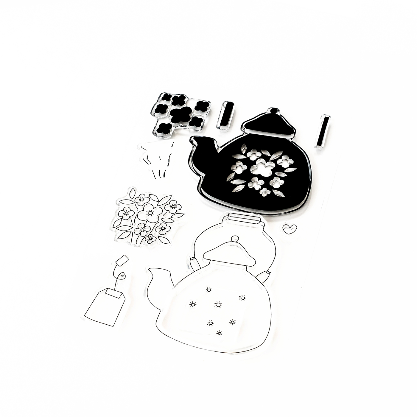 Pigment Blooming Teapot Stamps