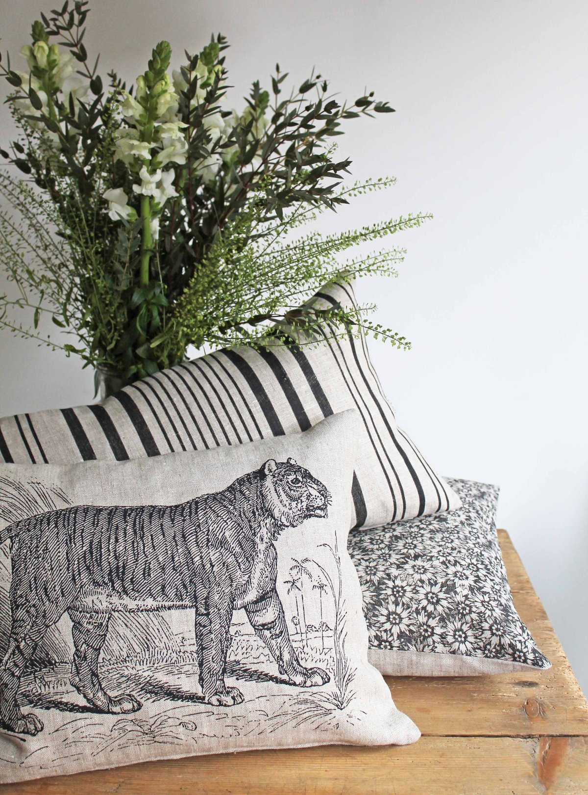 Shere Khan Scatter Cushion in Natural Linen