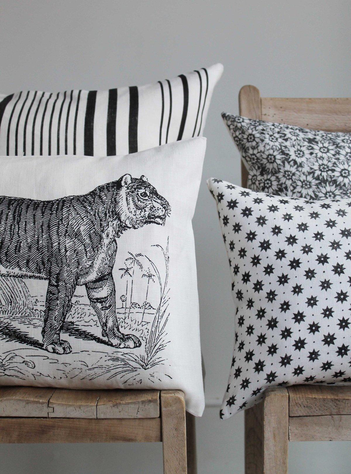 Shere Khan Scatter Cushion in White Linen