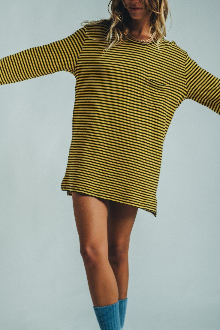 Long Sleeve Stripes Mustard Black