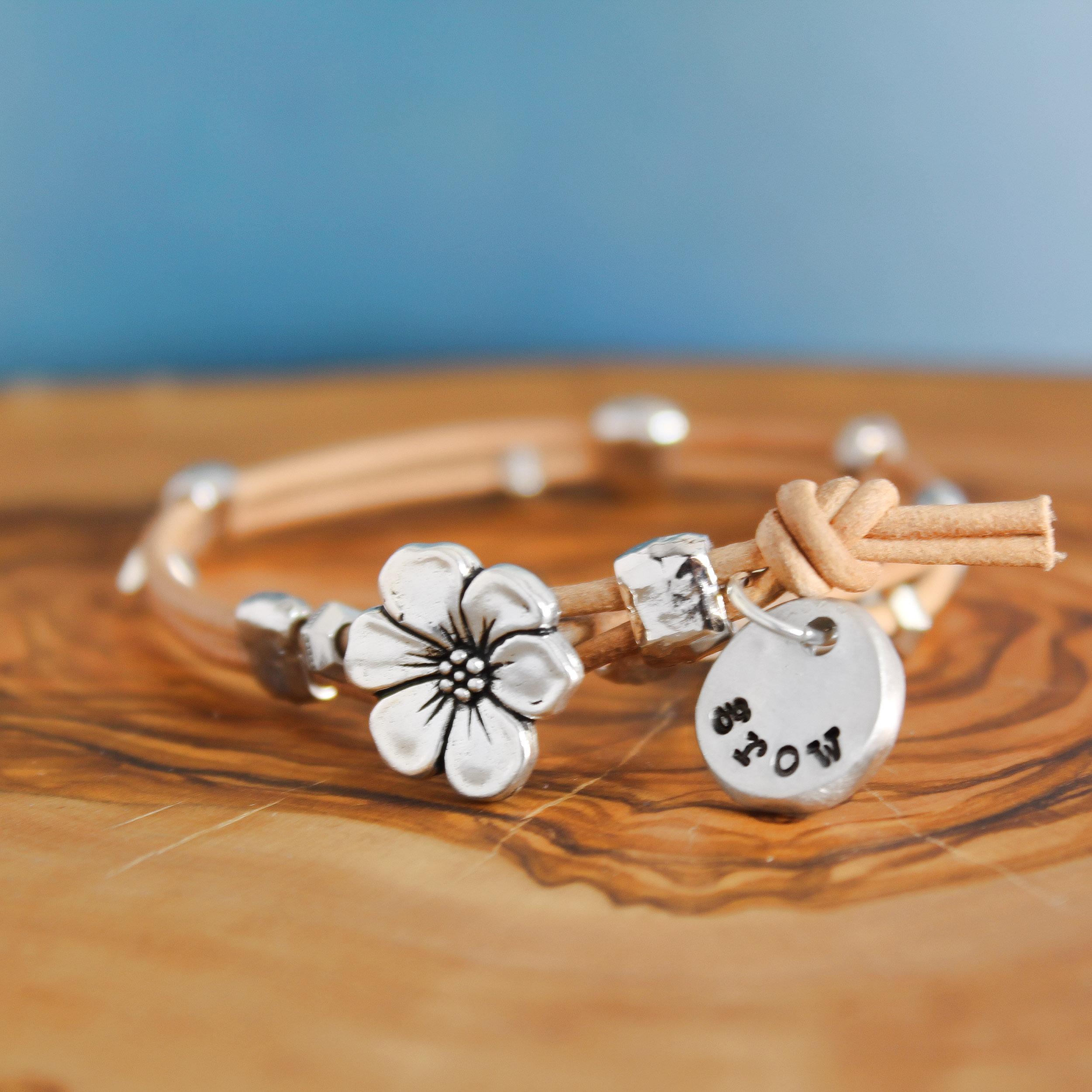 Leather Bloom Wrap Bracelet