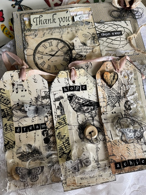 Shabby Vintage Tag Butterflies and Birds