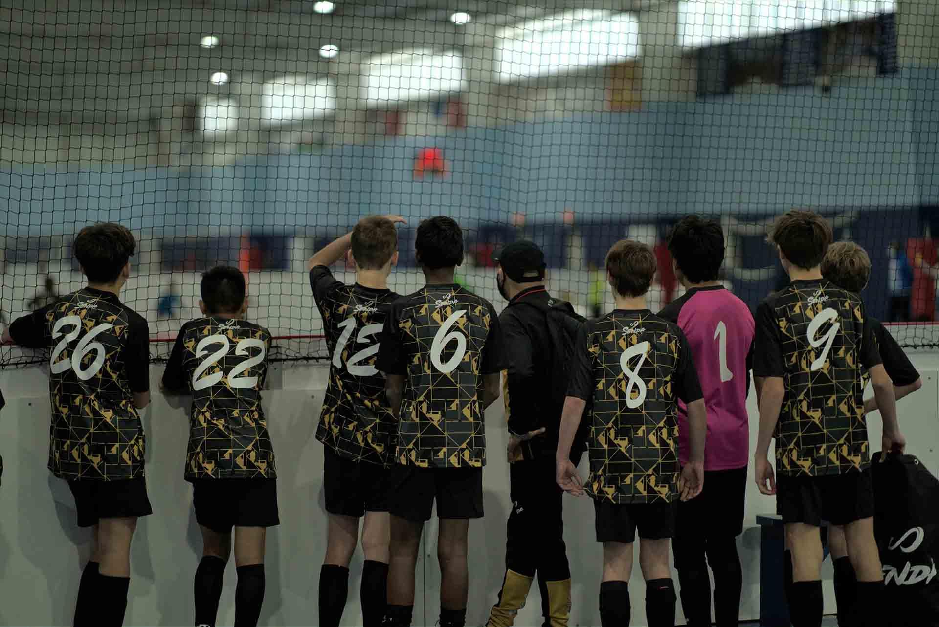 Sudamerica Futsal boys team with Senda customized home uniform