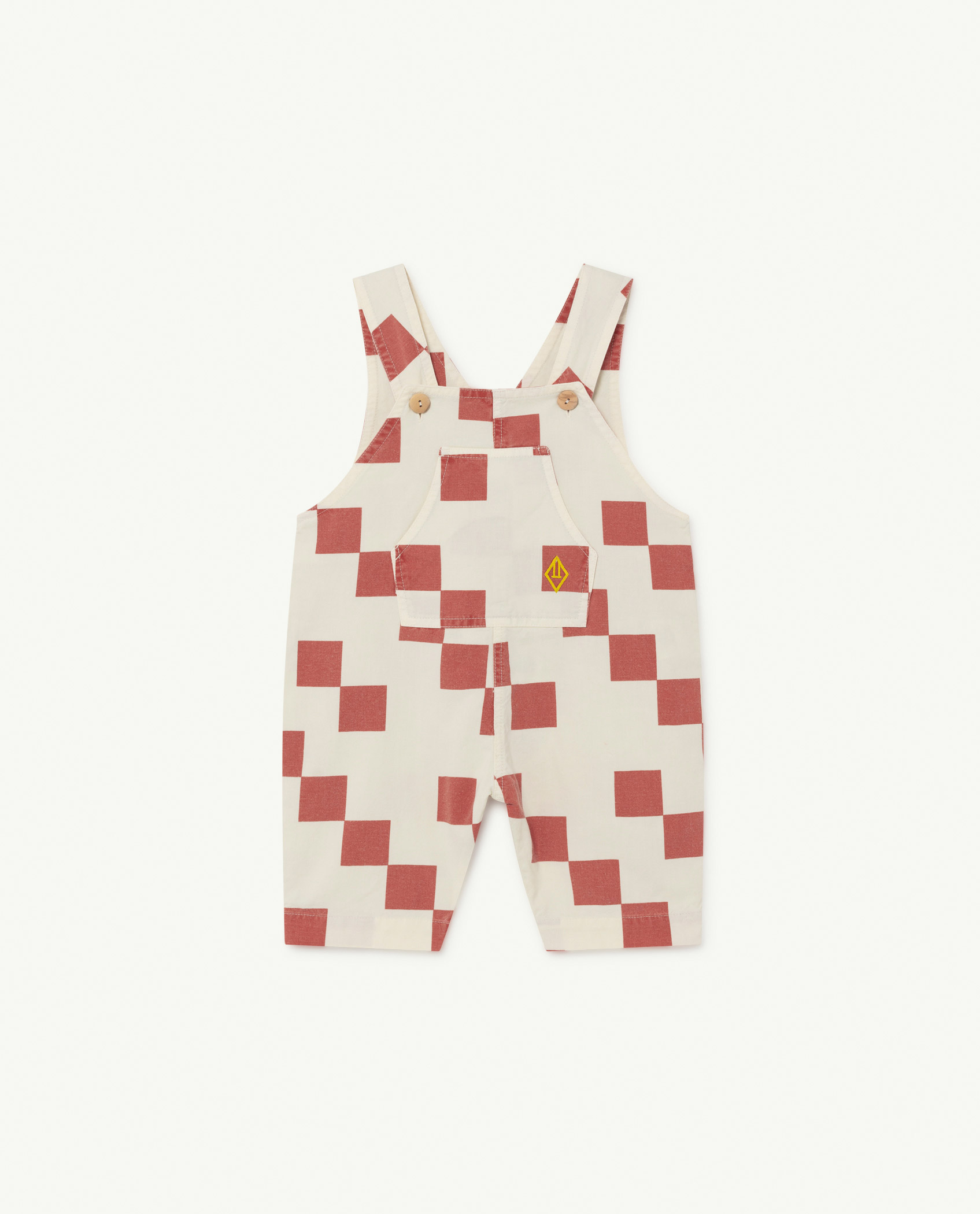 the animals observatory mammoth baby jumpsuit red squares