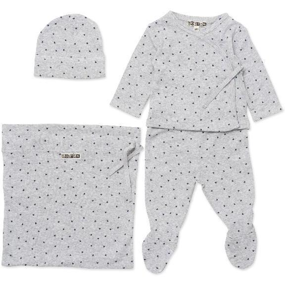 bonton hearts baby gift set grey