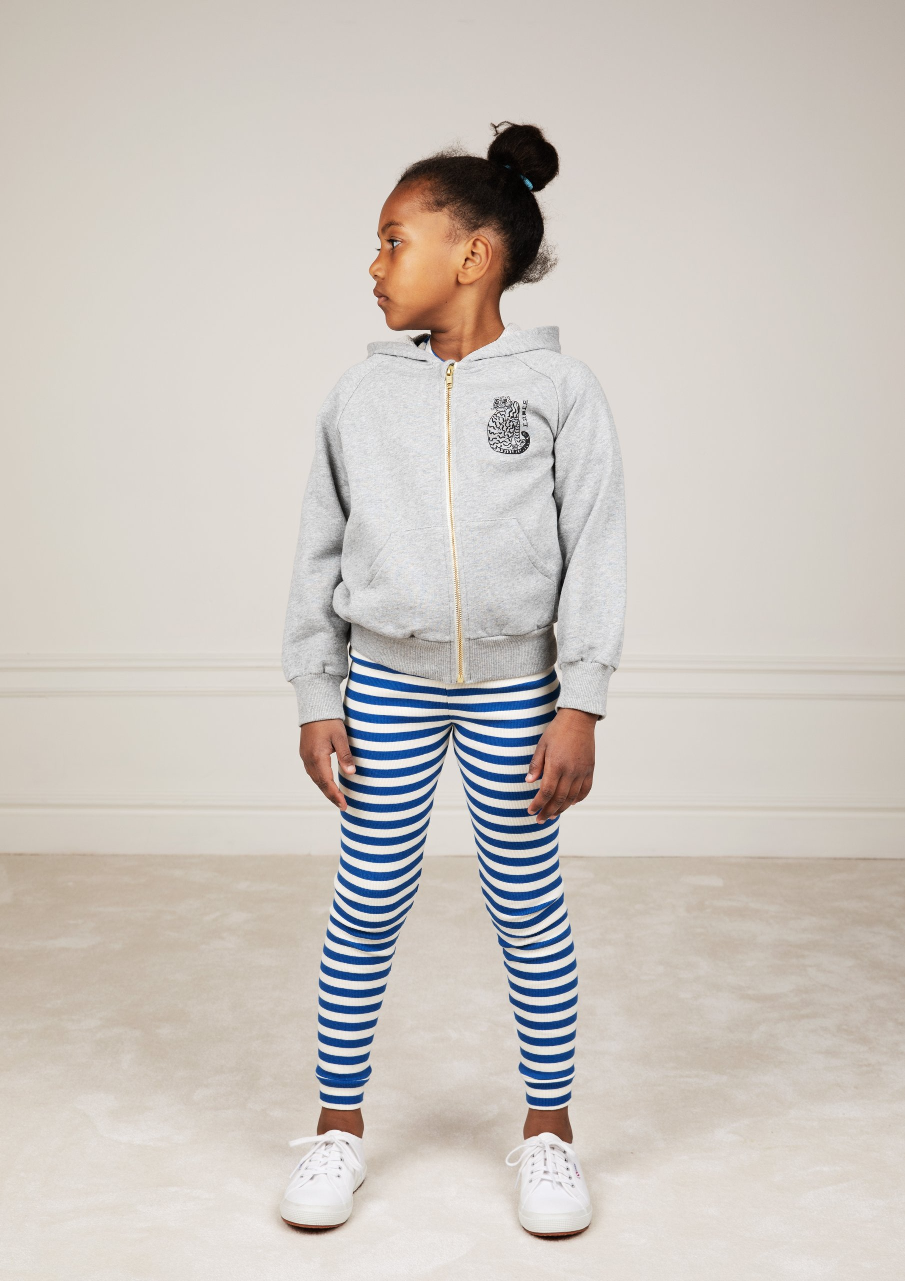 mini rodini tiger zip hoodie grey melange