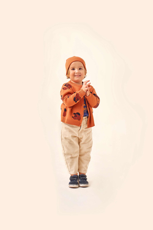 tinycottons dog baby cardigan true brown dark copper