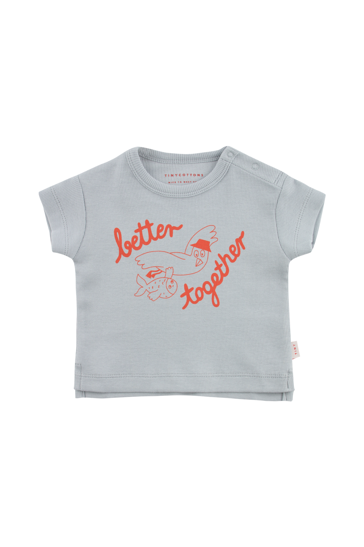 tinycottons better together baby tee pale grey red