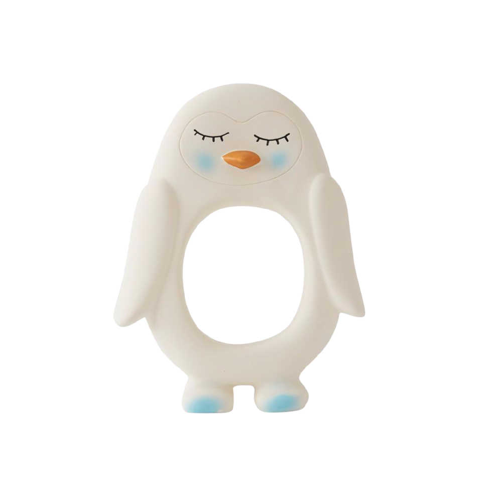 oyoy mini penguin baby teether white