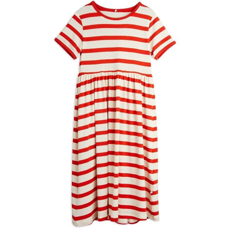 mini rodini stripe short sleeve dress red