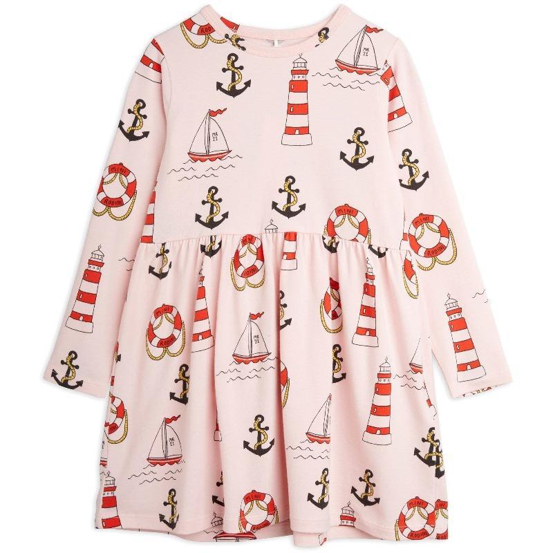 mini rodini lighthouse allover long sleeve dress pink