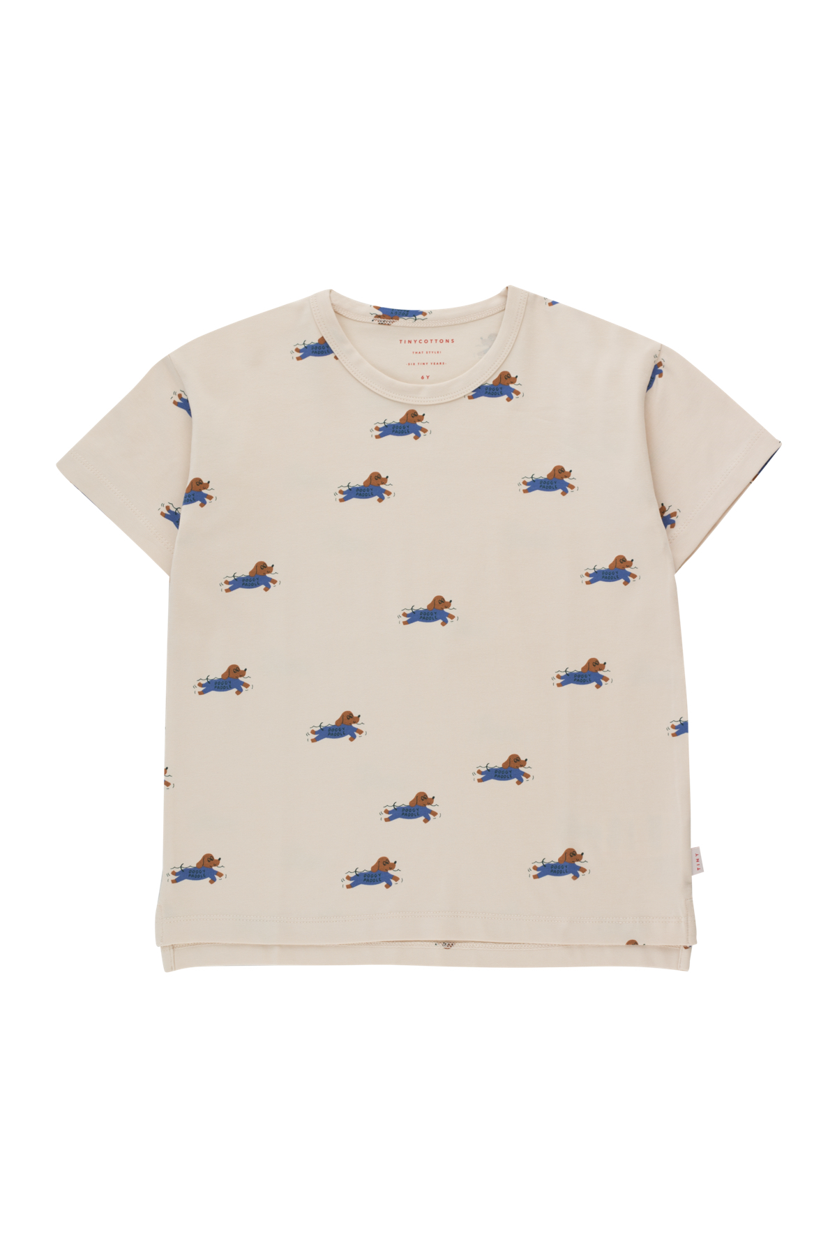 tinycottons doggy paddle tee light cream iris blue