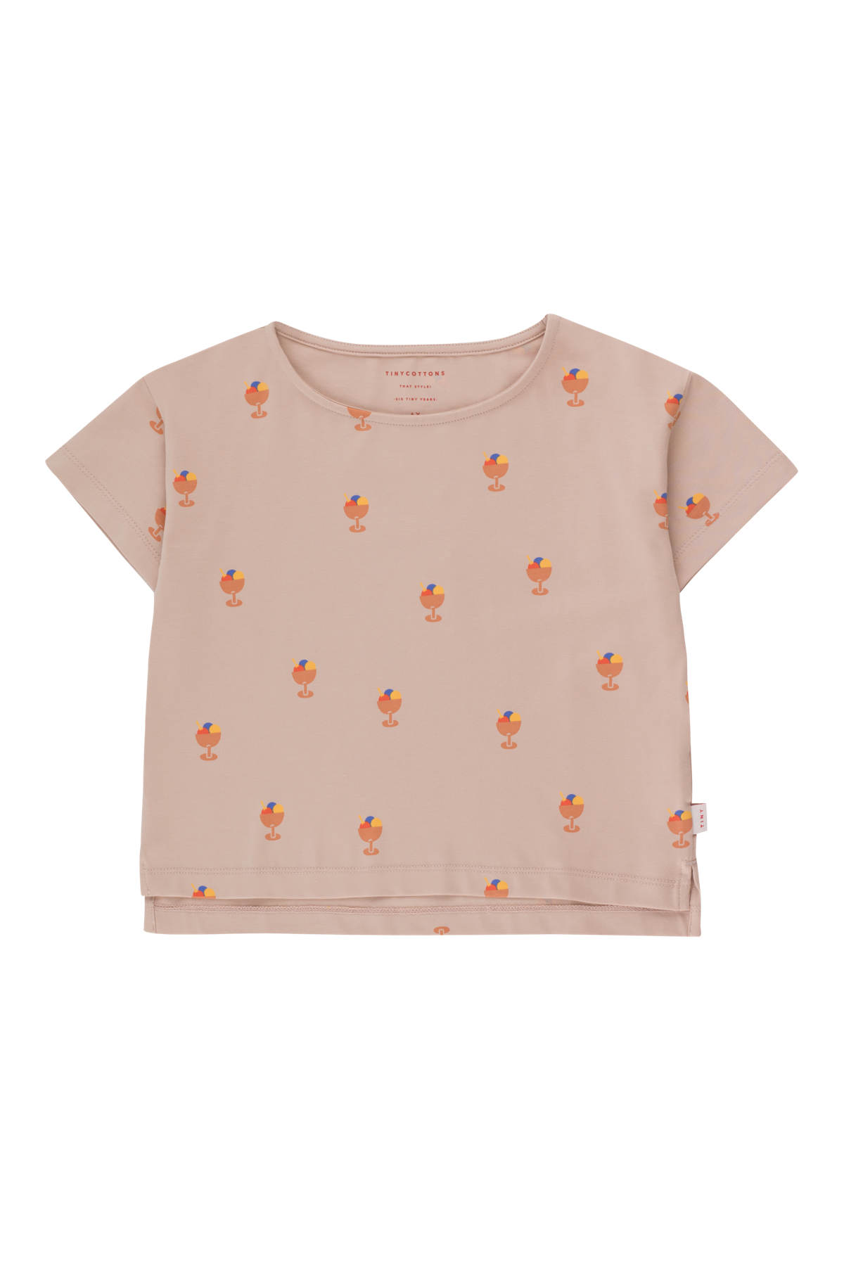 tinycottons ice cream cup crop tee dusty pink papaya