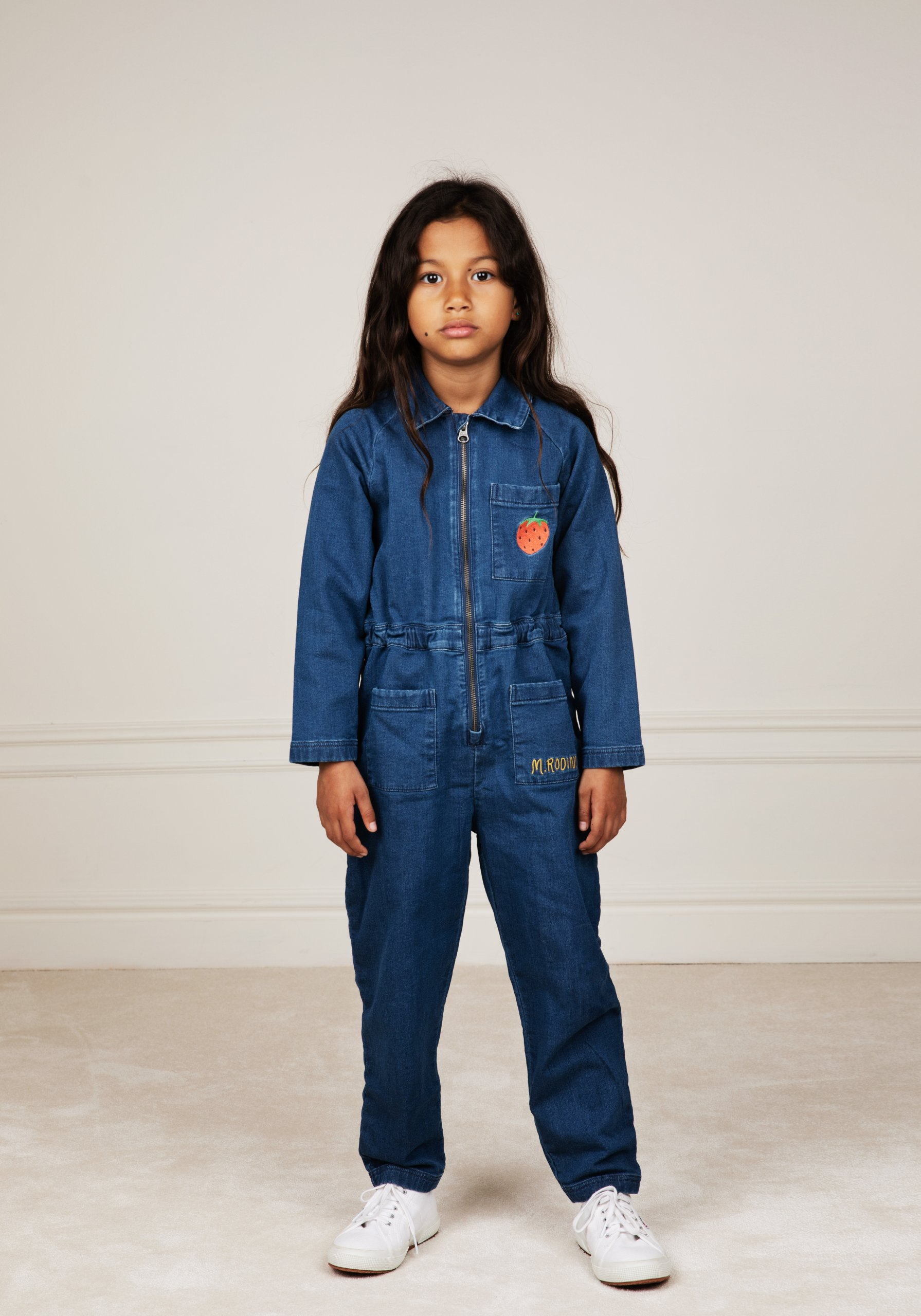 mini rodini denim strawberry jumpsuit blue