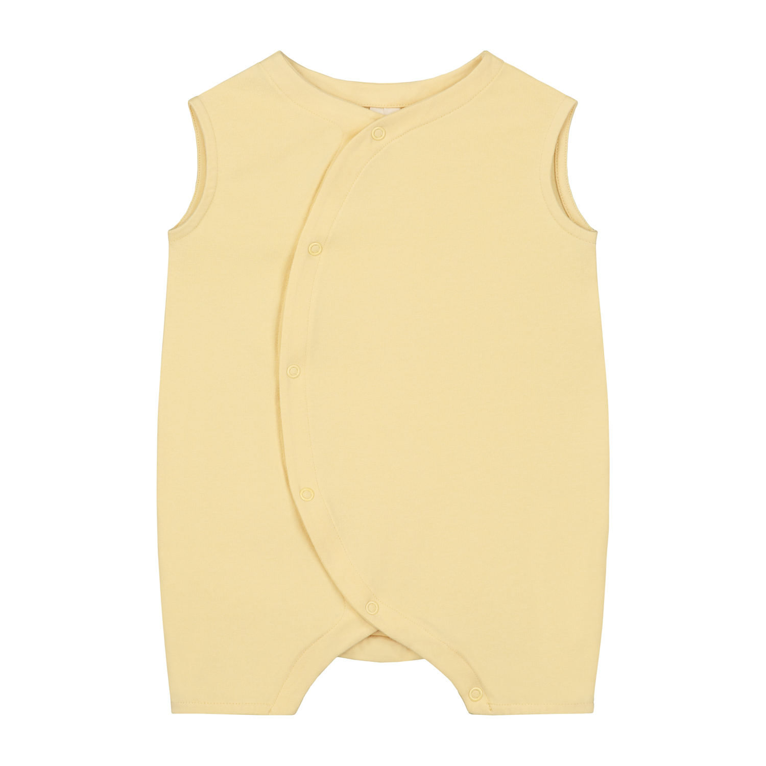 gray label baby grow with snaps mellow yellow