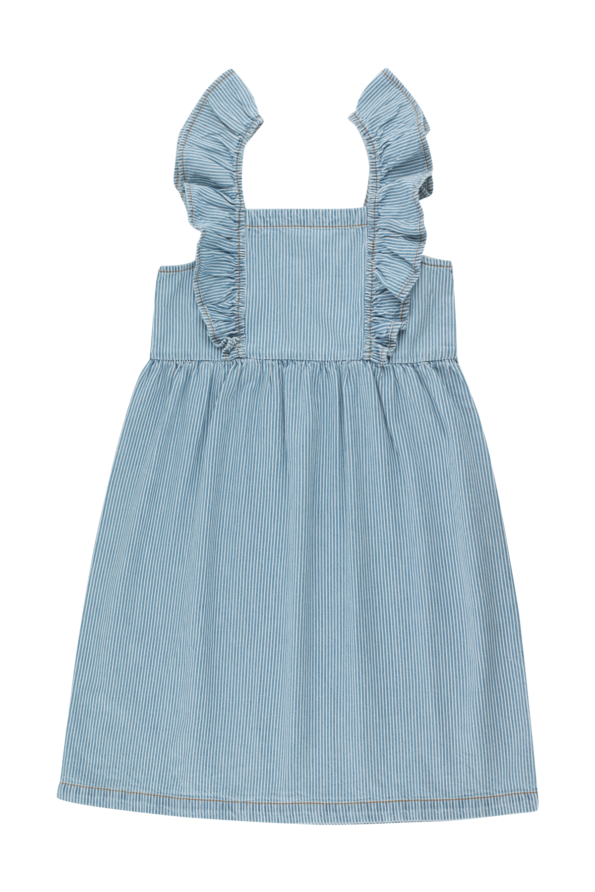 tinycottons striped denim frills dress