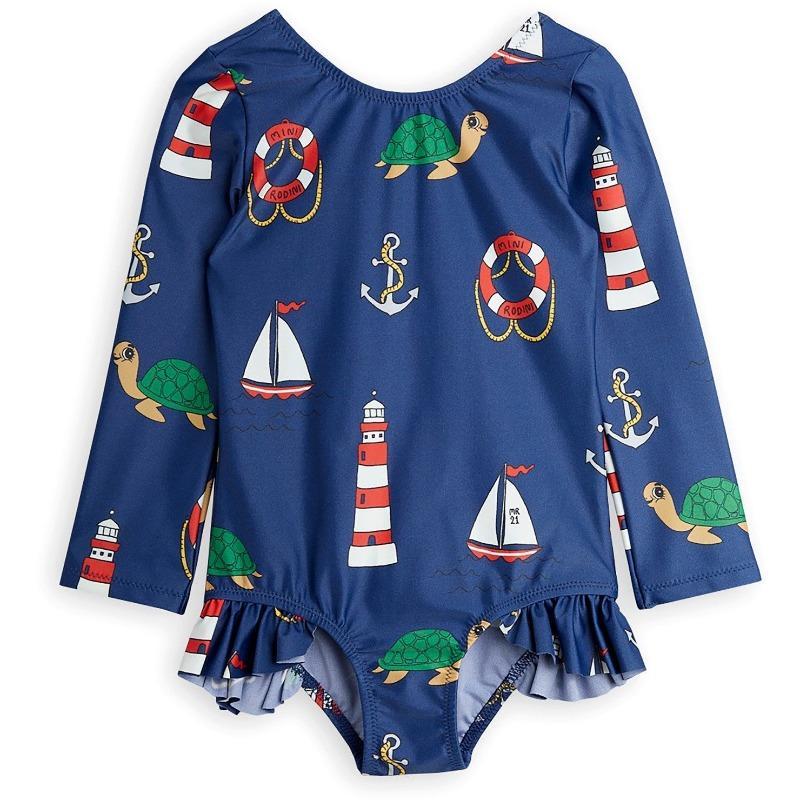 mini rodini turtle float long sleeve uv swimsuit navy