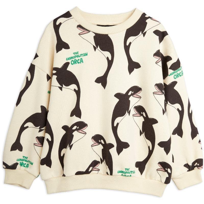 mini rodini orca allover sweatshirt off white