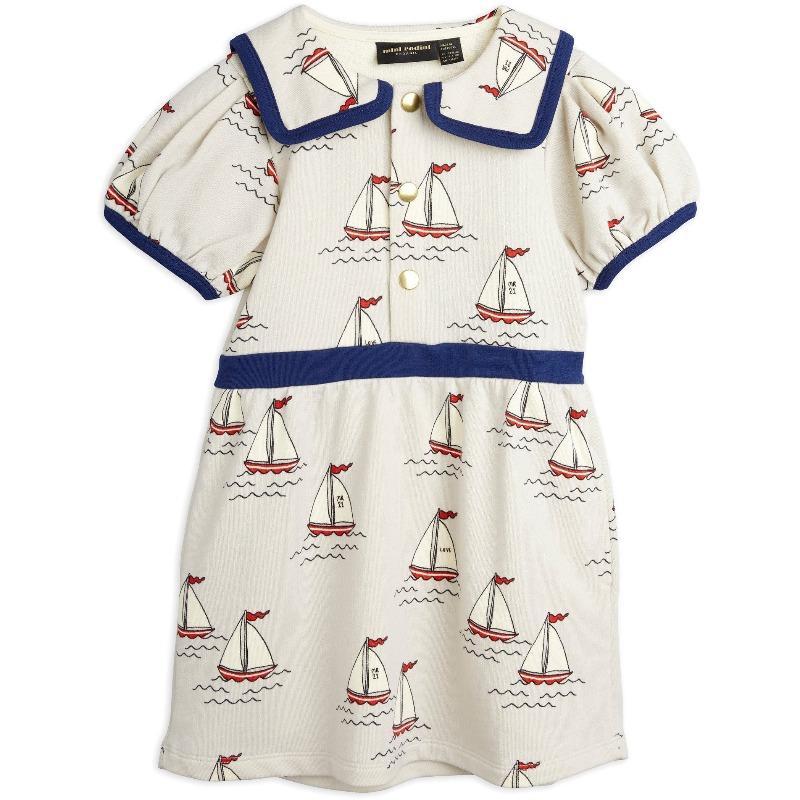 mini rodini sailing boats allover sweatdress light blue