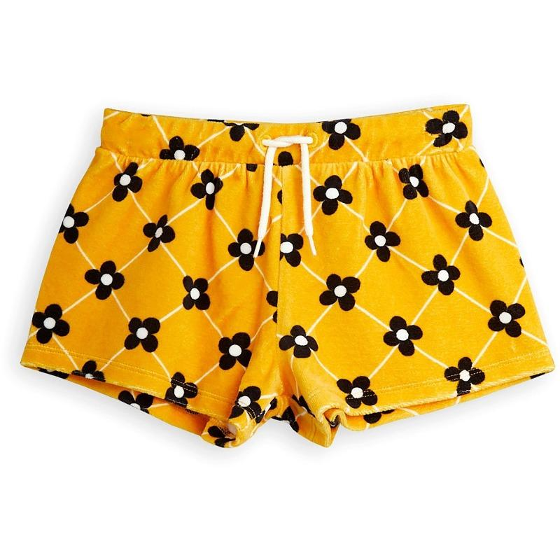 mini rodini flower check velour shorts yellow