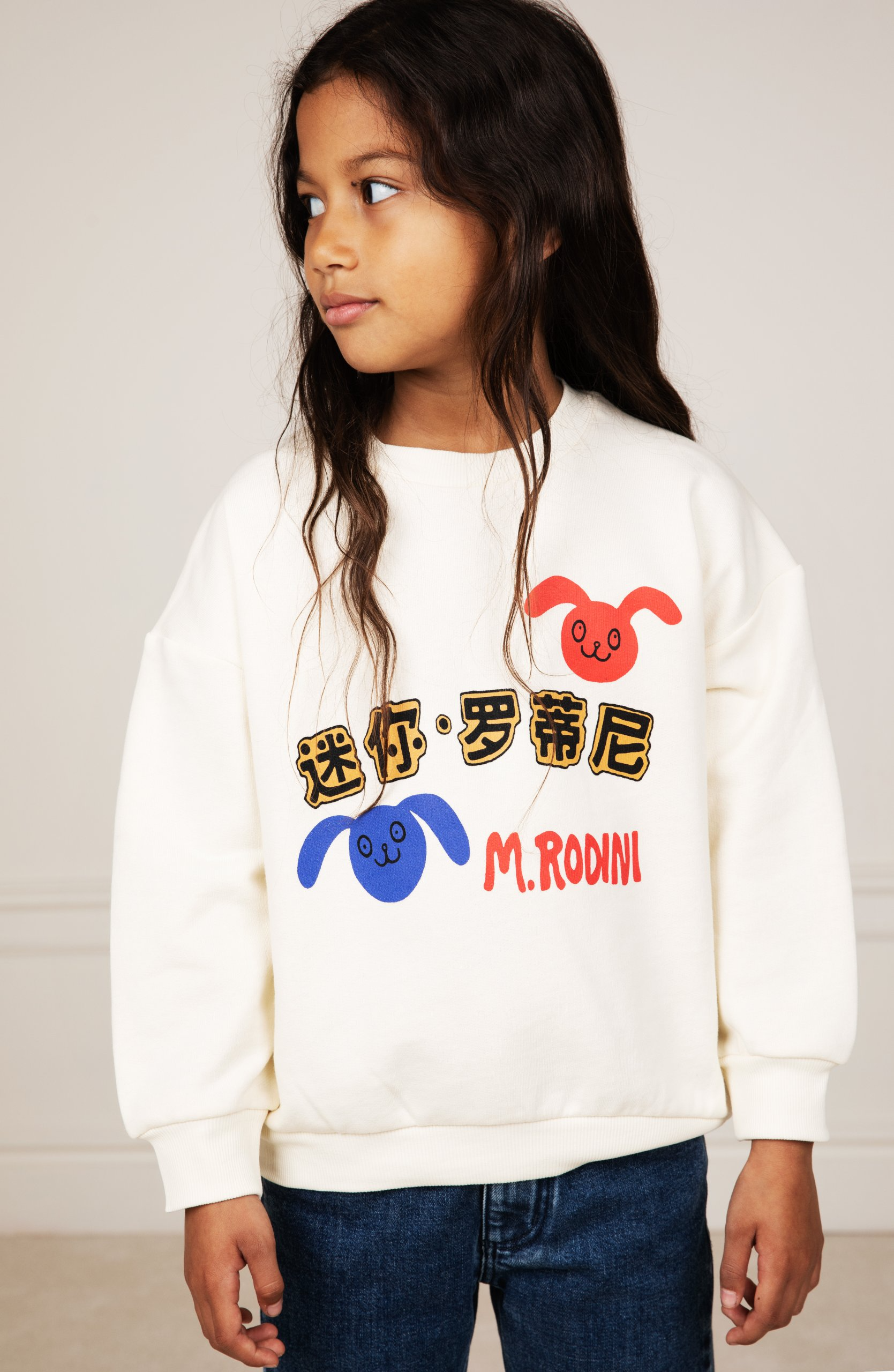 mini rodini mr rabbits sweatshirt offwhite exclusive