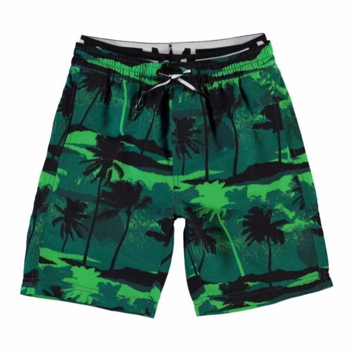 molo neal swim shorts palm trees green