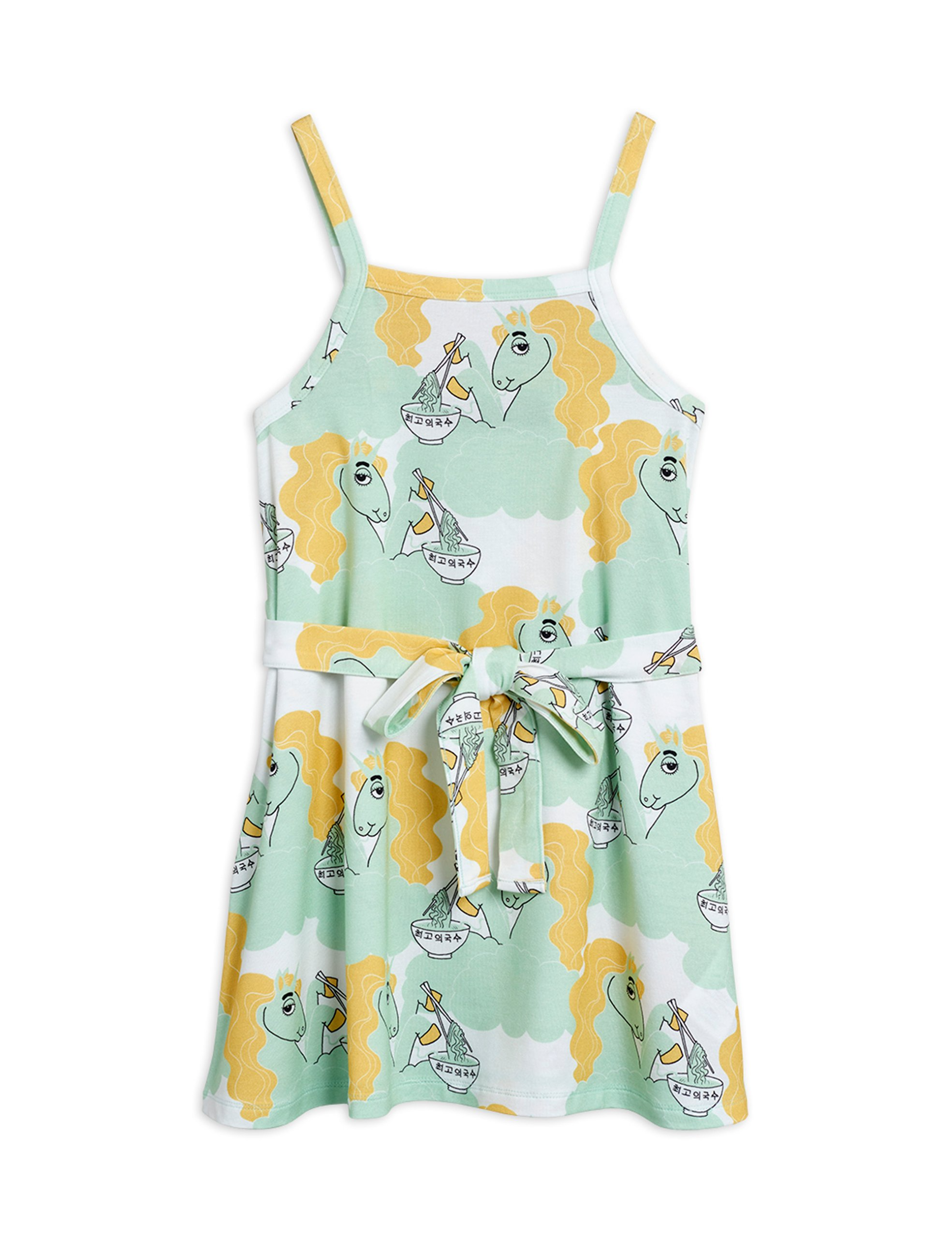 mini rodini unicorn noodles tank dress green