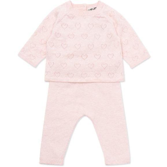 bonton knit baby set pink hearts