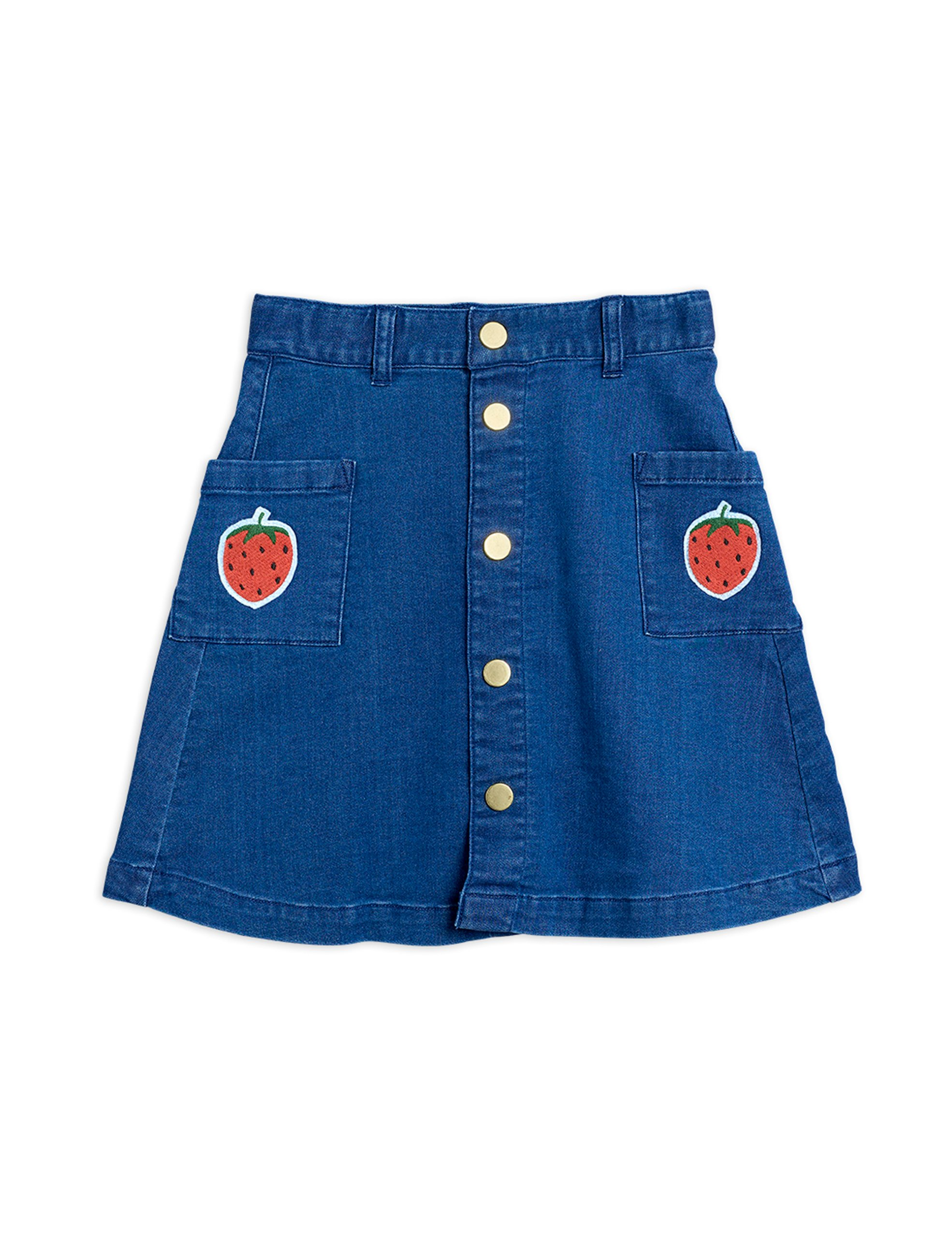 mini rodini denim strawberry skirt blue