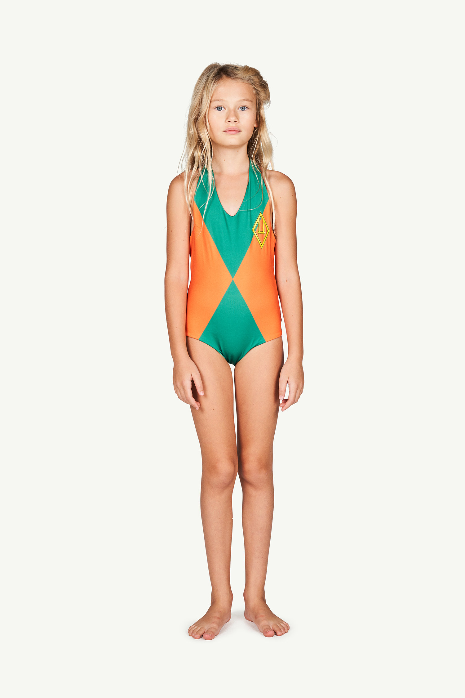 the animals observatory fish kids swimsuit orange triangles