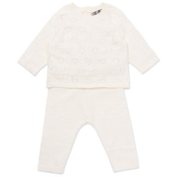 bonton knit baby set white hearts