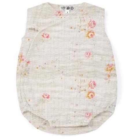bonton floral baby romper ecru