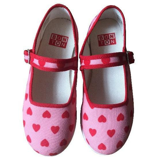 bonton hearts mary janes pink red