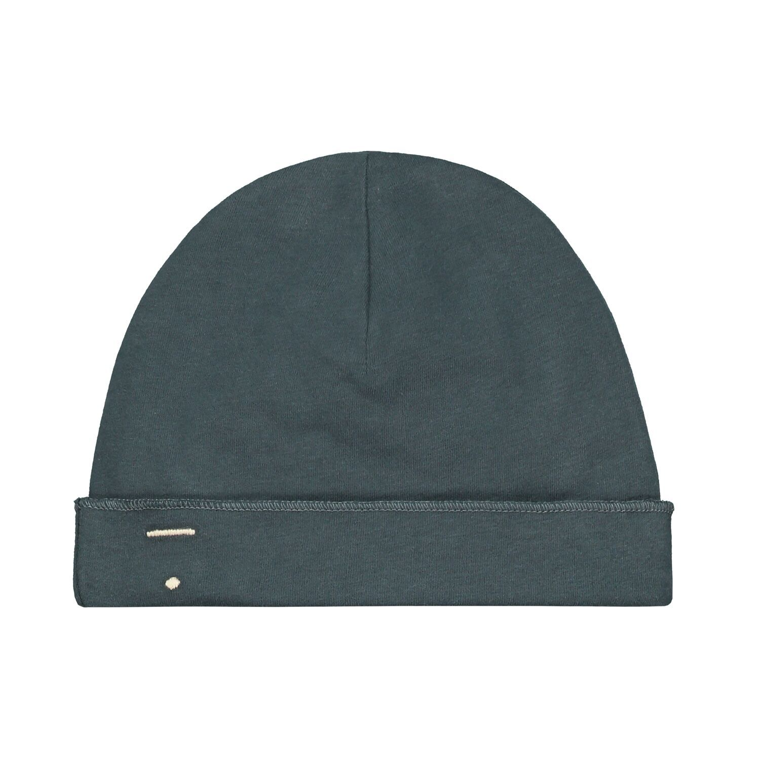 gray label baby beanie blue grey
