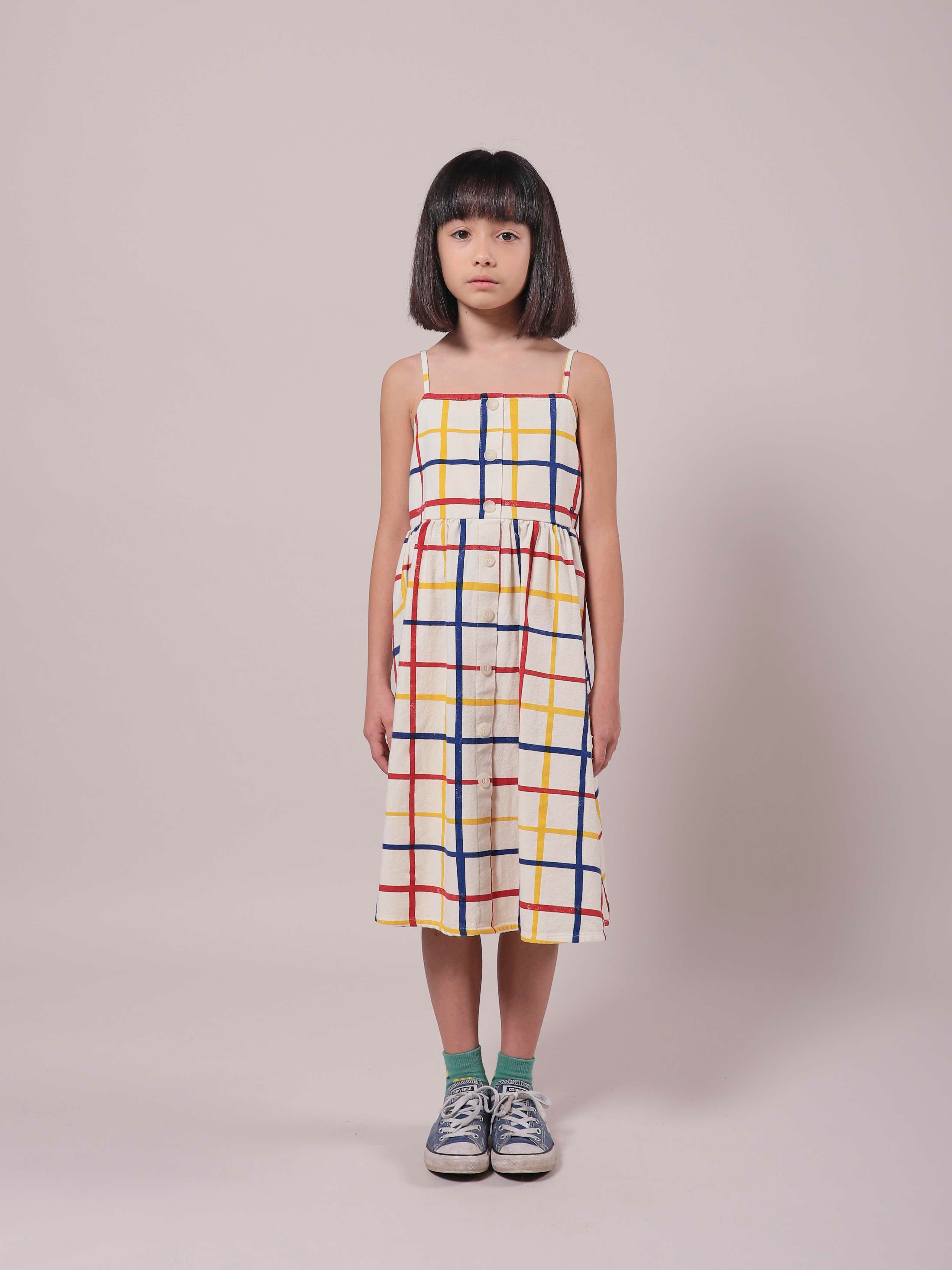 bobo choses multicolored checkered woven dress