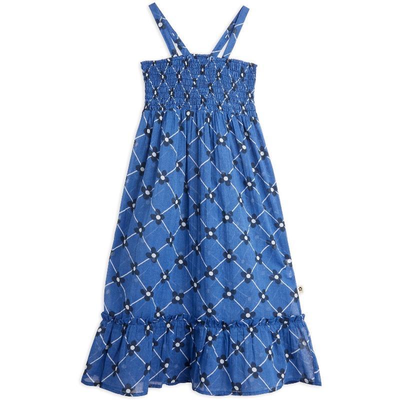 mini rodini flower check woven smock dress blue