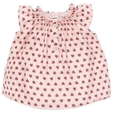 bonton hearts baby blouse rose