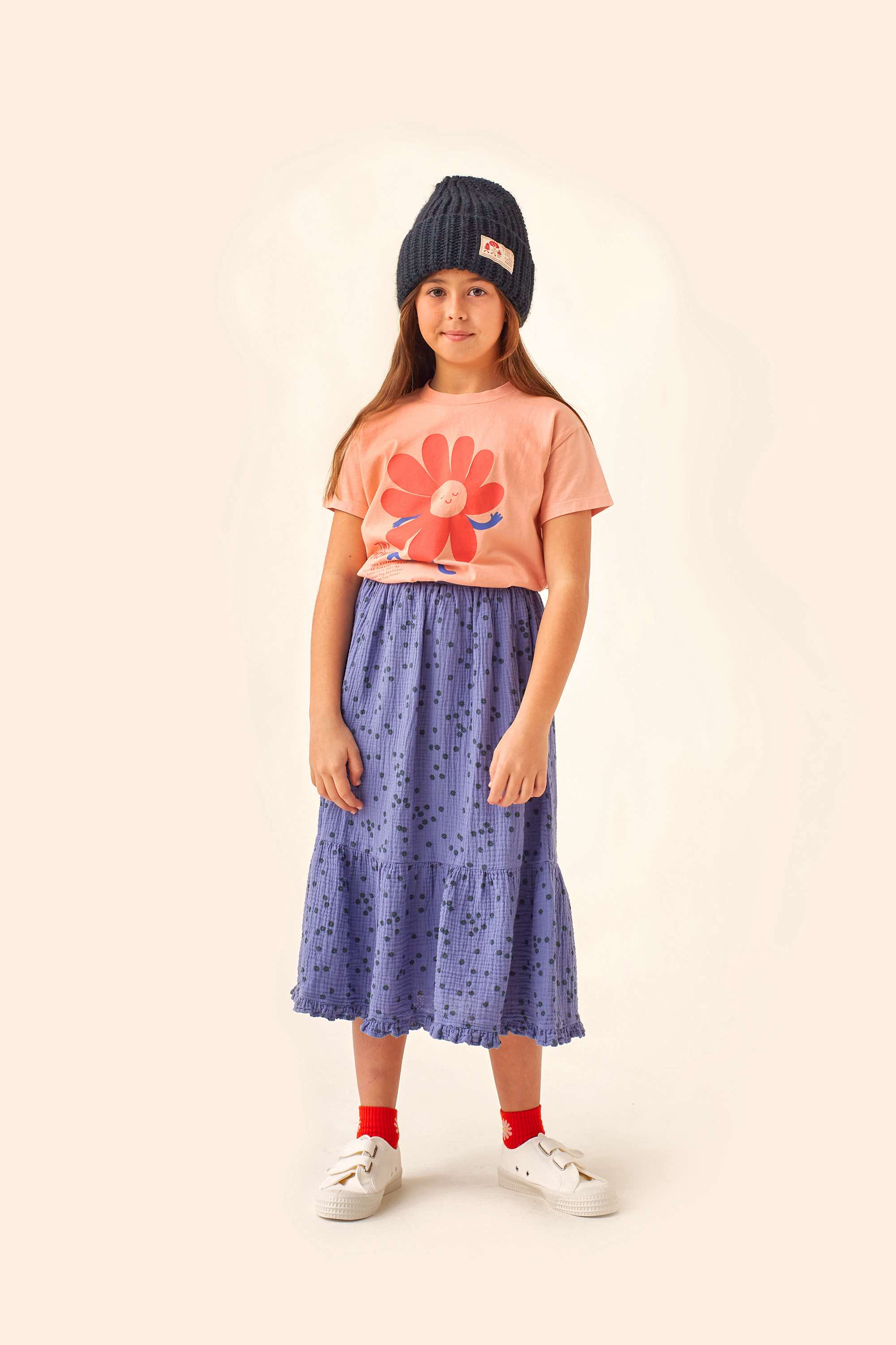 tinycottons daisies long skirt soft blue ink blue