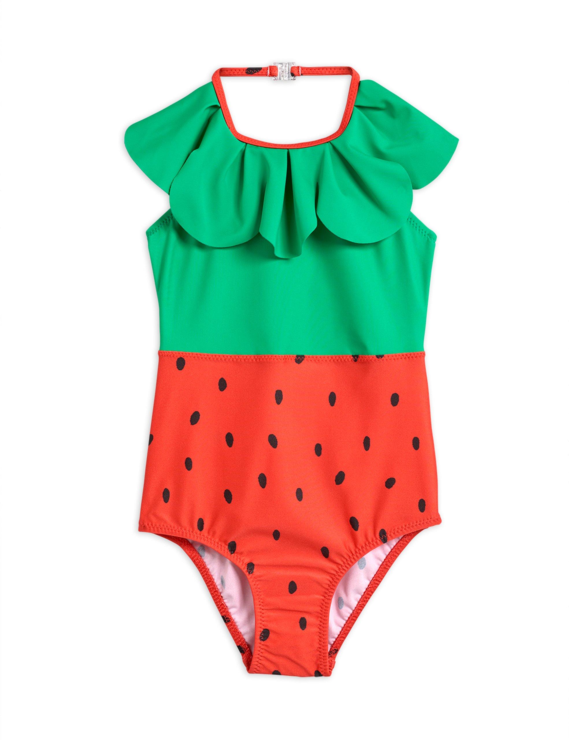 mini rodini strawberry halterneck swimsuit red