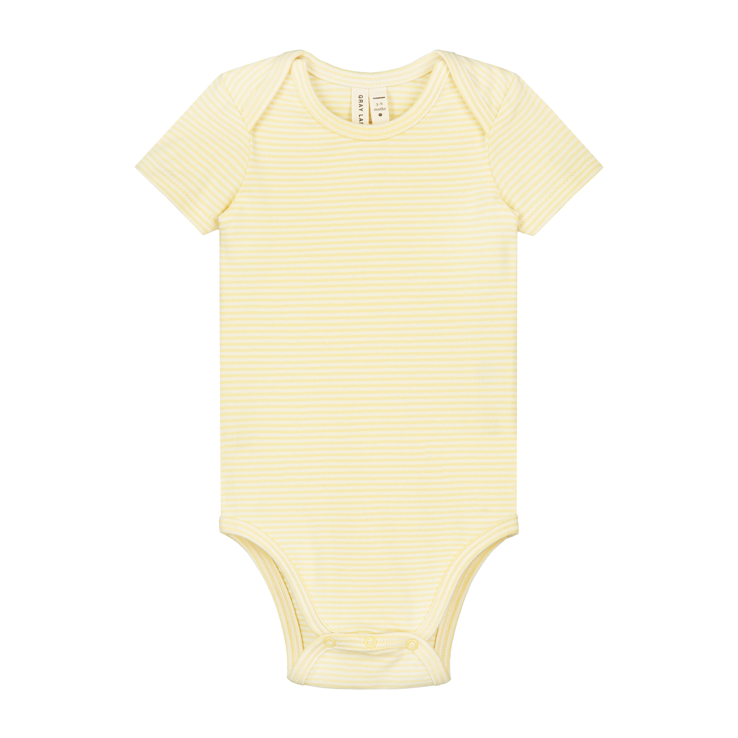 gray label baby onesie mellow yellow cream