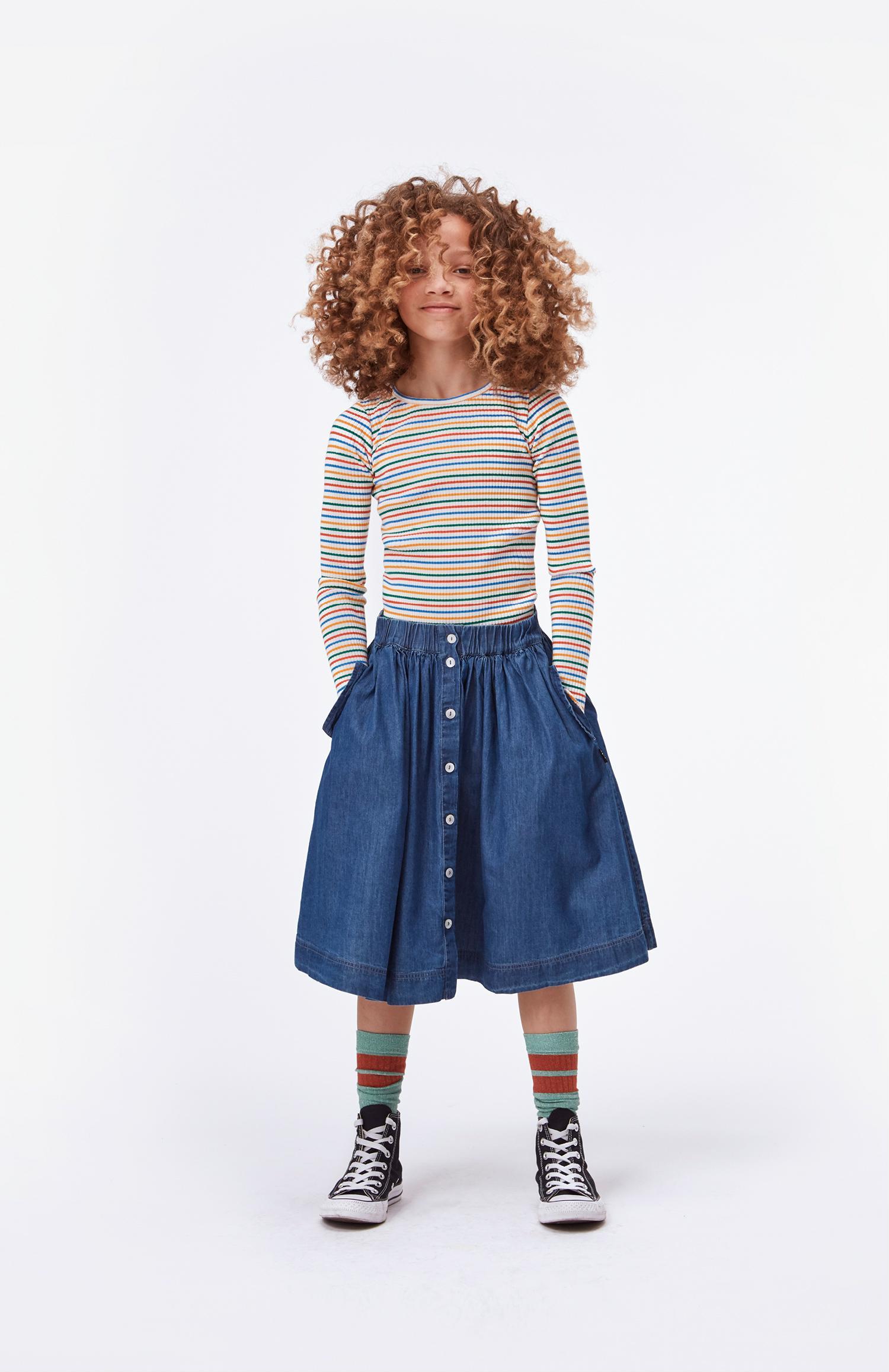 molo rochelle t-shirt fine rainbow stripe