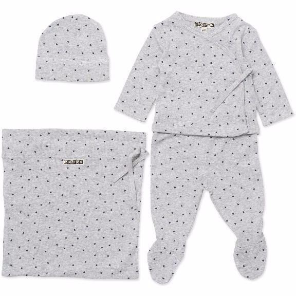 bonton hearts baby gift set grey