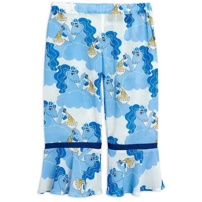 mini rodini unicorn noodles woven trousers blue exclusive